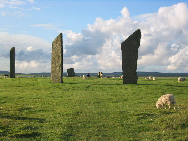4 standing stones with grazing sheep