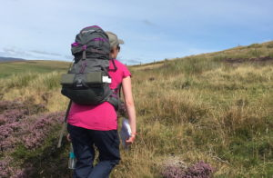 Woman hiking through heather